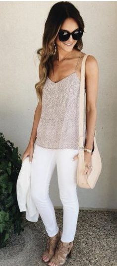 ~~~Love these white jeans with spaghetti strap taupe tank!  Spring summer 2017 fashion trends. Stitch fix spring summer.  #affiliatelink