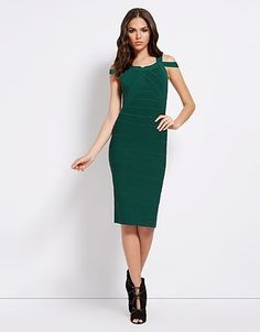 An enviable collection of women's clothing and accessories from Lipsy London. White Bandage Dress, Bodycon Dress, Lipsy Dresses, Julien Macdonald, Green Fashion, Summer Wedding, High Neck Dress, Dresses For Work, Clothes For Women