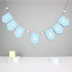 It's A Boy Baby Shower Bunting by Paper and Wool, the perfect gift for Explore more unique gifts in our curated marketplace. Baby Shower Bunting, Party Bunting, Baby Boy Shower, Baby Shower Gifts, New Baby Cards, New Baby Gifts, Baby Boy Decorations, Personalised Bunting, Welcome Home Baby