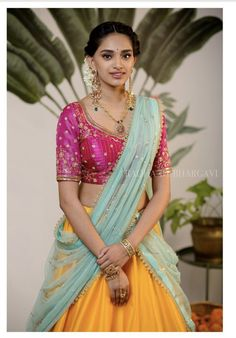 Super ideas for womens day photography dreams Half Saree Lehenga, Lehnga Dress, Half Saree Designs, Lehenga Designs, Saree Blouse Patterns, Saree Blouse Designs, Indian Wedding Outfits, Indian Outfits, Half Saree Function