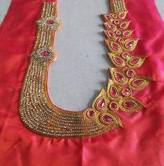 Cutwork Blouse Designs, Simple Blouse Designs, Saree Blouse Neck Designs, Stylish Blouse Design, Bridal Blouse Designs, Blouse Patterns, Hand Work Design, Maggam Work Designs, Modern Saree