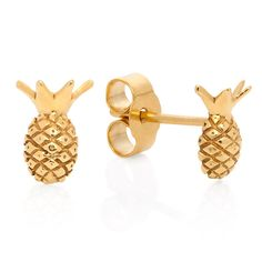 Lee Renee playfully redefines fine jewellery with her quirky tiny Pineapple Stud Earrings. Made in silver and generously overlaid with gold, they can be worn as a pair or with other earrings for summer cool. Bling Bling, The Bling Ring, Pineapple Jewelry, Pineapple Earrings, Gold Pineapple, Pineapple Farm, Pineapple Kitchen, Cute Jewelry, Jewelry Box