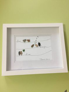 "Very unique ""live laugh love pebble art ""with birds by me in a 8x10 shadow box as shown. Thanks for your interest"