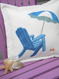 Beach umbrella pillow blue white indoor outdoor by crabbychris, Coastal Colors, Coastal Style, Coastal Living, Nautical Pillows, Blue Pillows, Beach Wall Decor, Beach House Decor, Stamp Printing, Beach Umbrella