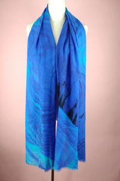 Ombre Blue Wool Fashion Digital Printing Women Ladies Wool Scarves