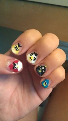 Cute Angry Bird Nail Design