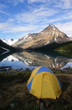Backcountry camping at Lorna Lake, BC, 1998