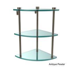 Allied Brass Glass Three-tier Corner Shelf (Antique Pewter), Clear