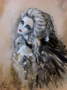Bianca Paraschiv Drawings Mixed media  Gothic girl ♠