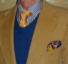 Vintage bespoke corduroy suit, Joe Fresh sweater, Hudson Room shirt, Canali tie…