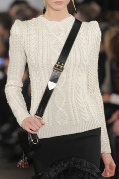 This formula never fails:  sweater, skirt, messenger bag.  Ralph Lauren Fall 2013 - Details
