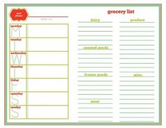 Meal Planning Template with room for shopping list. this is my fav.