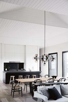 Kitchen Interior, Kitchen Design, Kitchen Wood, Farmhouse Interior, Modern Farmhouse, Kitchen Cabinets, Contemporary Country Home, Black Window Frames, Black Chandelier