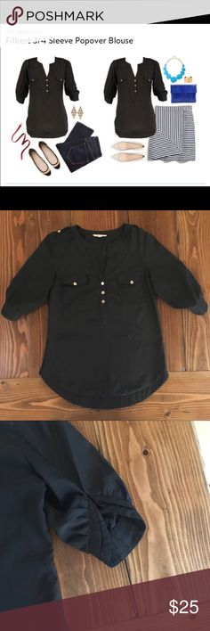 STITCH FIX 41 Hawthorn 3/4 Sleeve Black Blouse Adorable Stitch Fix brand 41 Hawthorn 3/4 Sleeve Black Popover Blouse with pearlized buttons and button tab details on the shoulders. The sleeves have a different cut that give them a super cute look. Perfect for the office! Excellent used condition. Love this blouse but getting rid of all of my career wear! STITCH FIX Tops Blouses