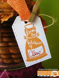 'From the kitchen of.' made with my new 'Sweet Thing' clear stamps now… Stamp Tv, Gift Packaging, Clear Stamps, Gift Tags, Cardmaking, Stampin Up, Greeting Cards, Paper Crafts, Christmas Ornaments
