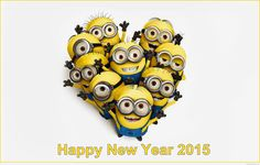 Minions wallpaper love HD wish you a happy new year 2015 Minions wallpaper love