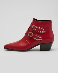 Saint Laurent Studded Double Monk Ankle Boot, Red - Neiman Marcus