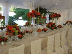 The French Tangerine: ~ tangerine wedding part 2 - chair covers are beautiful  themarriedapp.com hearted <3