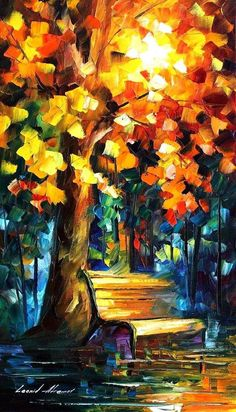 Misty Bench — PALETTE KNIFE Oil Painting On Canvas by AfremovArtStudio, $239.00