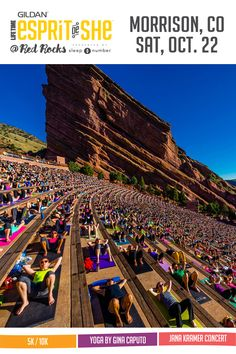 Gildan Esprit de She is taking over the iconic Red Rocks Amphitheatre for an inspiring afternoon of fitness and fun! Experience a timed 5K or 10K run with views at every mile, Yoga Rocks! sessions by Gina Caputo, and a sunset concert by country artist Jana Kramer on October 22, 2016. Learn more: http://espritdeshe.com/red-rocks-co-5k10k-yoga/