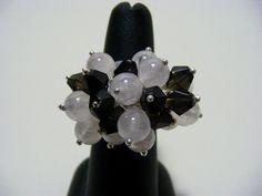 Mystic Rose Quartz and Smokey Quartz Adjustable Gemstone Ring. £15.00