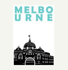 Melbourne Print A4 Melbourne Australia Art Print by Pomalia