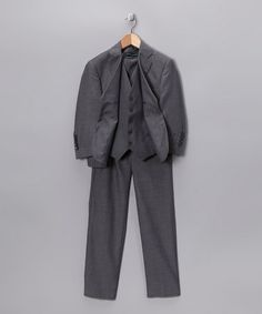 Take a look at this Light Gray Three-Piece Suit Set - Boys by Ferrecci on #zulily today!