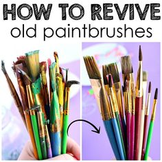 Cleaning old paintbrushes - how to revive them using vinegar and soap! There are also great scraping recommendations to use.