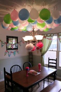 This balloon ceiling makes an awesome decoration for a birthday party! Look how the balloons are illuminated from the lampshade below - as if they were glowing. Pokemon Birthday, Diy Birthday, 1st Birthday Parties, Birthday Ideas, Party Table Decorations, Birthday Decorations, Balloon Decorations Without Helium, Idee Diy, Slumber Parties