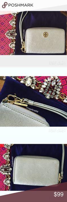 7cd946fb3e7 Spotted while shopping on Poshmark  Tory Burch Metallic Silver Wristlet!   poshmark  fashion