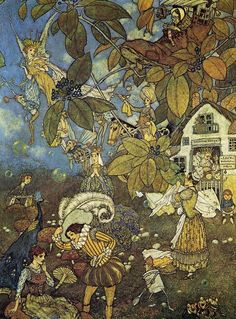 An unpublished fairy illustration by Edmund Dulac (1882 - 1953).