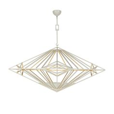 "SQUARE PENDANT SHOWN IN WHITE POWDER COATING & ANTIQUED GOLD LEAF  ROUND PENDANT SHOWN IN UN-LACQUERED BRASS  LARGE: W36"" X D36"" X H24"" OAD: TO BE SPECIFIED DIAGONAL DIMENSION: 50 7/8"" SHOWN IN UN-LACQUERED BRASS (1) 100W HALOGEN BULB  AVAILABLE IN SMALL W18"" & EXTRA LARGE W48""     STANDARD FINISHES:   Un-Lacquered Brass, Powder Coated (Any Powder Coat Color),   Two-Tone: Powder Coated Exterior with Antiqued Gold or Silver Leaf Interior  Available with Square or Round Spokes UL Listing…"