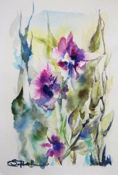 Abstract Nature Original Watercolor Painting Abstract by CanotStop, $38.00