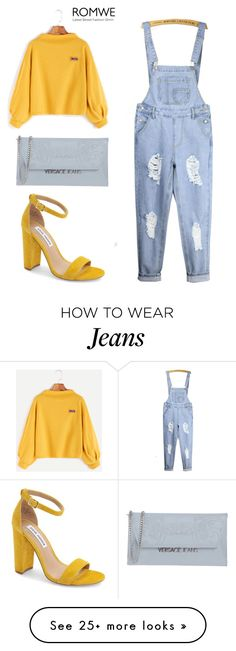 """Yellow sweatshirt + jeans jumpsuit"" by ana-silva-386 on Polyvore featuring WithChic, Steve Madden, Versace, yellow, romwe and jeans"