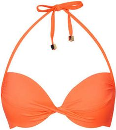 Flame Orange Basic Plunge Bikini Top