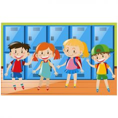 Fondo de niños en el colegio Vector Gratis