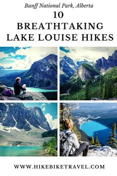10 breathtaking Lake Louise hikes in Banff National Park - from easy, family friendly ones to a couple of mountains with some good heart pounding elevation Banff National Park, National Parks, Canadian Travel, Canadian Rockies, Alberta Travel, Best Hikes, Travel Activities, Adventure Travel, Travel Inspiration