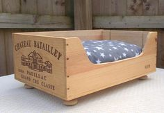 Wooden cat bed  wine crates  French style  cat gift  cat
