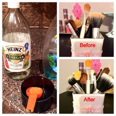 Cleaning Your Makeup Brushes DIY-1tbsp dish soap, 1tbsp white vinegar, 1 cup of hot water. Mix all ingredients in a cup or bowl and dip your brushes in it. Lay brushes out on a towel to dry. Works better then the MAC makeup brush cleaner and it's cheaper