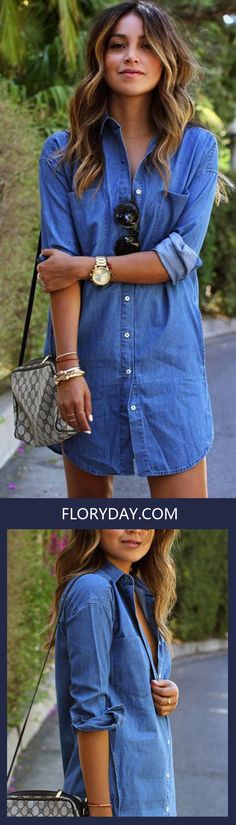 Step right up to this comfy, cute and casual dresses at floryday.com! Classic jean material with, fashionable designs, this dress will make you look even more sophisticated! We'll answer your daydreams with flirty florals & stylish sundresses and more!