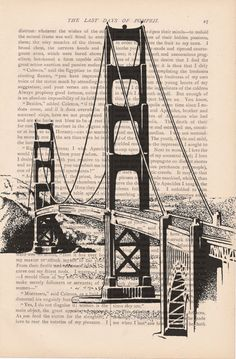 dictionary art vintage San Francisco Golden by ExLibrisJournals, $9.00