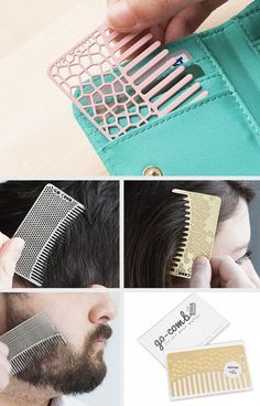 The size of a credit card, Go-Comb fits easily in a wallet. It's lightweight, waterproof, and durable, and ready to touch up hair, beard, or mustache when you're out and about.