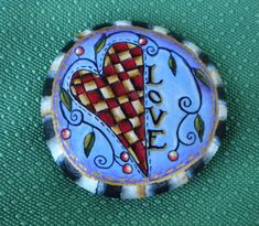 Hand Painted Rock // Red and Yellow Checkerboard // Heart // Hearts // Beth Baker Artist // Love