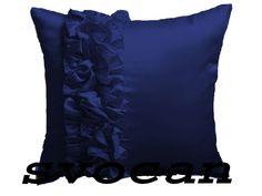 4 Pc Stylish 26''X26'' Frill Satin Navy Blue Cushion Cover Xmas Home Decor
