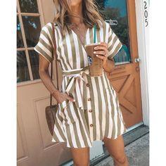 Women Summer Striped V Neck Dress Casual Button Short Sleeve Loose Dress Fashion Women Clothes Mini Dresses - Women dresses - Summer Dress Outfits Tie Dress, V Neck Dress, Dress Red, Blazer Dress, Dress Lace, Chiffon Dress, Stylish Dresses, Casual Dresses, Casual Clothes