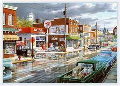 Main Street Back in the 50s Digital Art Downloadable von naturepoet, $3.50