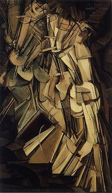 """This picture is called """"Nude Descending a Staircase"""" by Marcel Duchamp. This is an example of Dadaism art because it mimics the saying that dada is """"nothing and everything."""" Most of the art of Dadaism simply looks like nonsense as a protest to mainstream."""