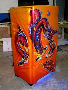 Airbrushed Dragon Fridge - Painted by Mike Lavallee of Killer Paint… Airbrush Art, Airbrush Designs, Pinstriping, Painted Fridge, Vintage Fridge, Pinstripe Art, Custom Airbrushing, Garage Art, Custom Paint Jobs