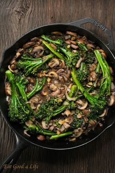 Broccolini and mushroom stir-fry. You can serve this with brown rice, quinoa or pasta.