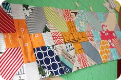 japanese x and + scrappy quilt tutorial over at badskirt